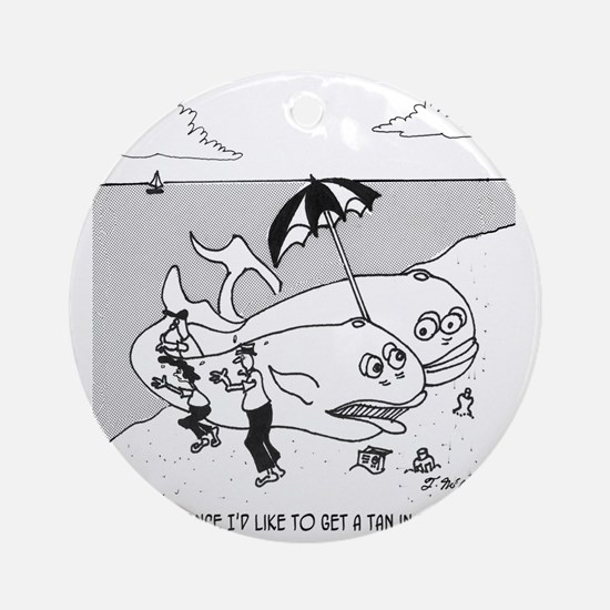 3139_whale_cartoon_JM Round Ornament