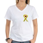 Yellow Ribbon Love Miss Sailor Women's V-Neck T