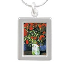 K/N VG Red Poppies Silver Portrait Necklace