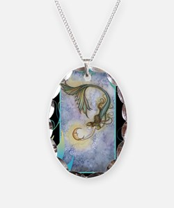 deep sea moon journal Necklace Oval Charm