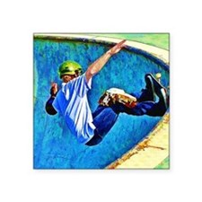 """Skateboarding in the Bowl c Square Sticker 3"""" x 3"""""""