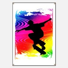 Skateboarding on Rainbow Grunge Background Banner