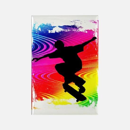 Skateboarding on Rainbow Grunge B Rectangle Magnet