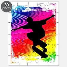 Skateboarding on Rainbow Grunge Background Puzzle