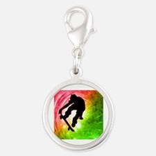 Skateboarder in a Psychedelic  Silver Round Charm