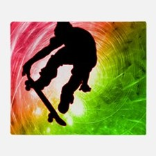 Skateboarder in a Psychedelic Cyclon Throw Blanket