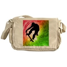Skateboarder in a Psychedelic Cyclon Messenger Bag