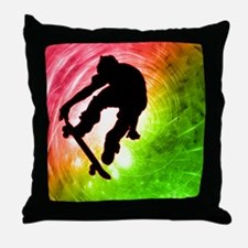 Skateboarder in a Psychedelic Cyclone Throw Pillow