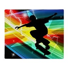 Skateboarder in Criss Cross Lightnin Throw Blanket