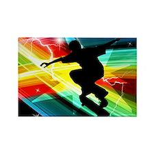 Skateboarder in Criss Cross Light Rectangle Magnet