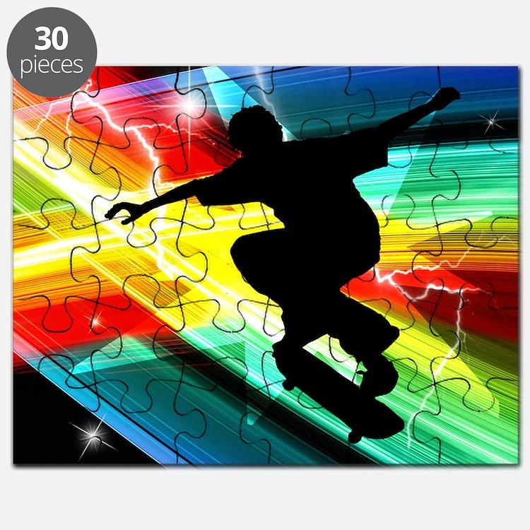 Skateboarder in Criss Cross Lightning Puzzle