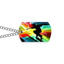 Skateboarder in Criss Cross Lightning Dog Tags