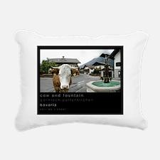 16x20 cow fountain Rectangular Canvas Pillow