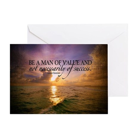 Value and Success Quote on Large Fra Greeting Card