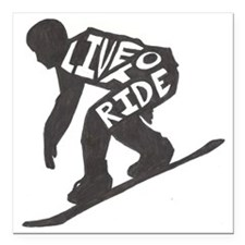 "LivetoRide2 Square Car Magnet 3"" x 3"""