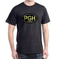 Pittsburgh - Gold on Black Oval - T-Shirt