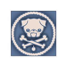"""pug-pirate3-CRD Square Sticker 3"""" x 3"""""""