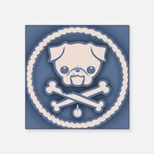 "pug-pirate3-CRD Square Sticker 3"" x 3"""