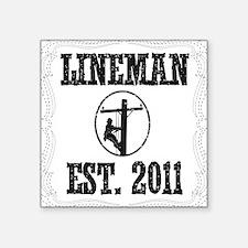 "lineman born DASHED Square Sticker 3"" x 3"""