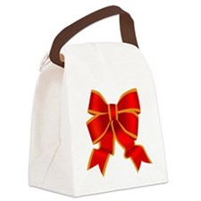 Red Bow Canvas Lunch Bag