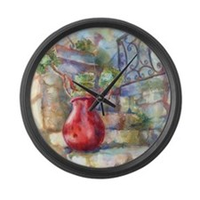 Red French Pot Large Wall Clock