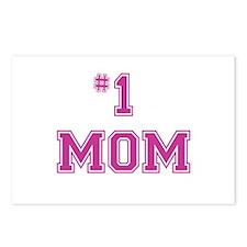 #1 Mom in dark pink Postcards (Package of 8)