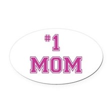 #1 Mom in dark pink Oval Car Magnet