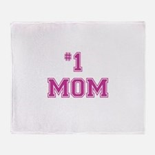 #1 Mom in dark pink Throw Blanket