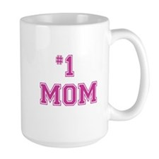 #1 Mom in dark pink Mugs