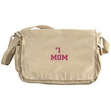 #1 Mom in dark pink Messenger Bag