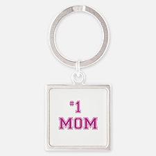 #1 Mom in dark pink Keychains