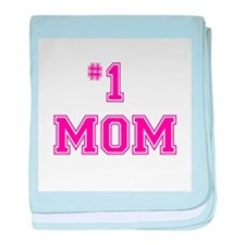 #1 Mom in dark pink baby blanket