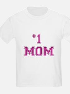 #1 Mom in dark pink T-Shirt