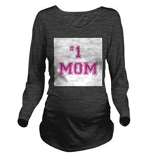 #1 Mom in dark pink Long Sleeve Maternity T-Shirt
