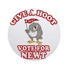 Give-a-Hoot-Newt-Bigger Round Ornament