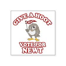 "Give-a-Hoot-Newt-Bigger Square Sticker 3"" x 3"""
