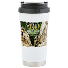 Be The Change Quote on Quote on Travel Mug