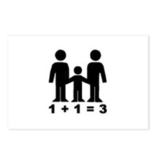 1 + 1 = 3 (graphic of family) Postcards (8)