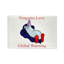 Penguins Love Global Warming Rectangle Magnet