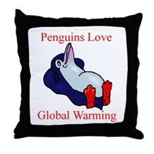 Penguins Love Global Warming Throw Pillow