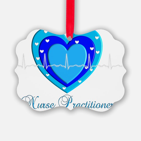 Nurse practitioner BLUE QRS Heart Ornament
