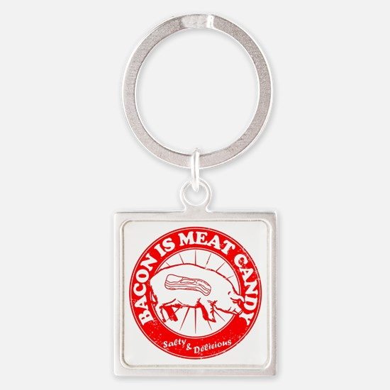 Meat Candy Distressed- Red Square Keychain