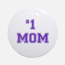 #1 Mom in purple Ornament (Round)