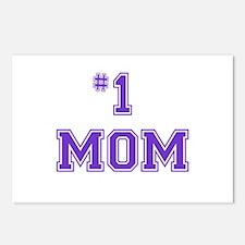 #1 Mom in purple Postcards (Package of 8)