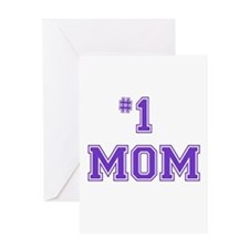 #1 Mom in purple Greeting Cards