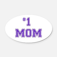 #1 Mom in purple Oval Car Magnet