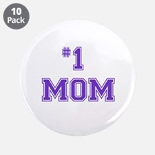 "#1 Mom in purple 3.5"" Button (10 pack)"