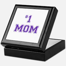 #1 Mom in purple Keepsake Box