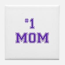 #1 Mom in purple Tile Coaster