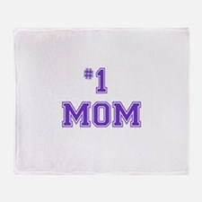 #1 Mom in purple Throw Blanket